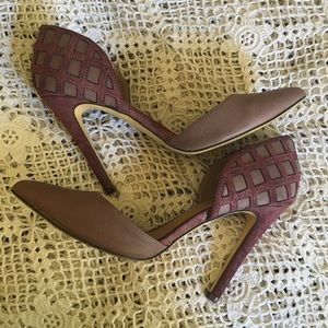 MICHAEL ANTONIO MAUVE LATTICE SUEDE HEELS SIZE 9